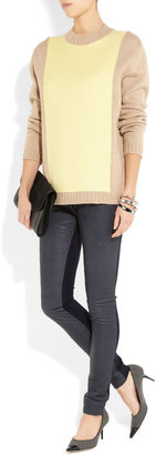 Preen Line Diamond quilted leather and stretch-crepe pants