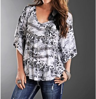 Rock & Roll Cowgirl Printed Shirt - 3/4 Dolman Sleeve (For Women)