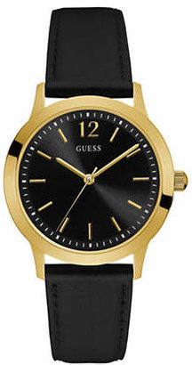 GUESS Black Genuine Smooth Leather Strap Watch W0922G4