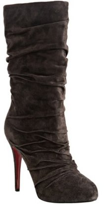 Christian Louboutin brown suede 'Piros 120' ruched boots