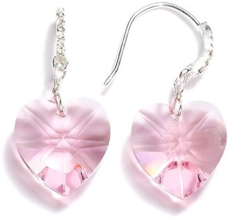 Brilliance+ Brilliance silver plate crystal heart drop earrings - made with swarovski elements