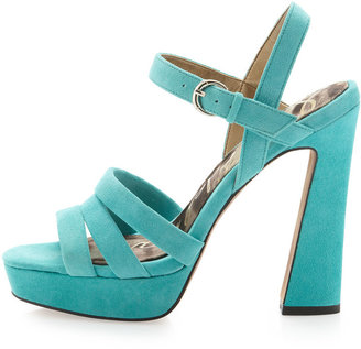 Sam Edelman Taryn Strappy Platform, Turquoise Suede