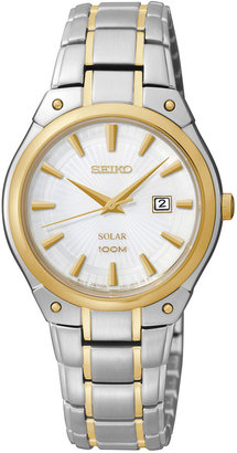 Seiko Womens Two-Tone Stainless Steel Solar Watch SUT128 $265 thestylecure.com