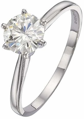 Moissanite 18 Carat White Gold 1 Carat Solitaire Ring