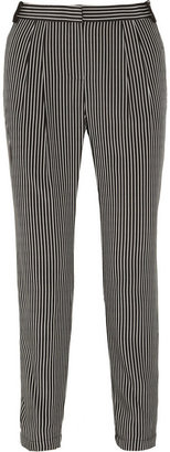 Tibi Striped silk crepe de chine tapered pants