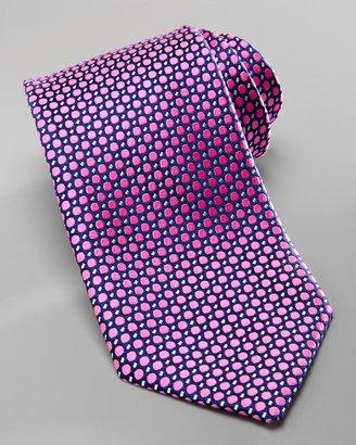 Charvet Polka-Dot Silk Tie, Navy/Pink
