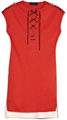 Derek Lam Stretch Cotton Faille Lace Up Tunic Dress