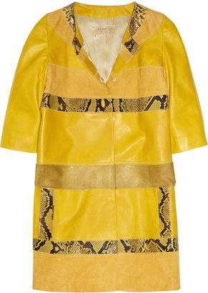 Giambattista Valli Paneled leather, suede and python coat