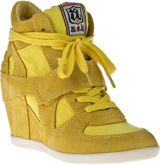 Ash Bowie Wedge Sneaker Lemon Suede