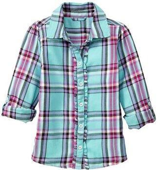 Gap Convertible ruffle plaid shirt