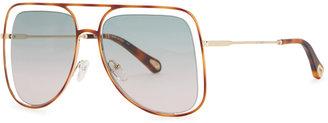 Chloé Poppy Cut-out Oversized Sunglasses