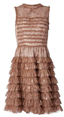 Rochas Pink Metallic Lace Dress