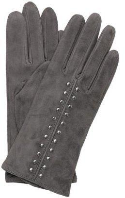 Michael Kors MICHAEL grey suede 'Astor' studded gloves