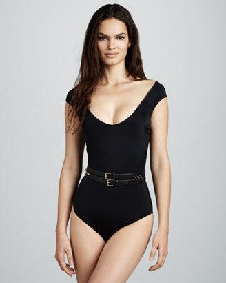 OYE Swimwear Sandy Scoop-Neck Swimsuit, Black