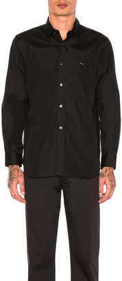Comme des Garcons Small Black Emblem Cotton Button Down in Black | FWRD