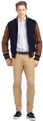 Brooks Brothers Bomber Jacket with Leather Sleeves
