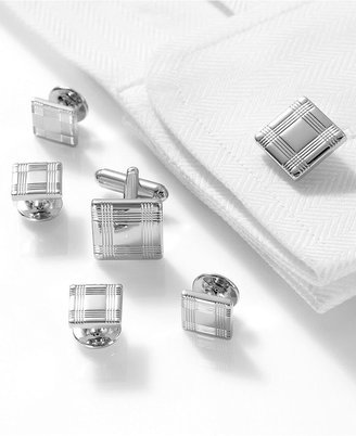 Geoffrey Beene Cufflinks, Polished Rhodium Plaid Square Boxed Set