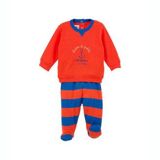 Petit Bateau Baby Boy Dual-Fabric Pajamas With Feet And Silkscreen Print