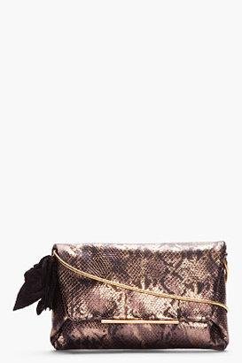 Lanvin Bronze Metallic Snakeskin Pochette Clutch