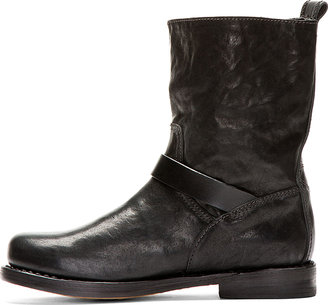 Rag and Bone Rag & Bone Black Leather Textured Biker Boots