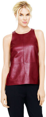 Club Monaco Leigh Leather & Silk Top