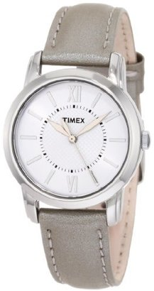 Timex Women's T2N683 Elevated Classics Dress Uptown Chic Silver Metallic Leather Strap Watch $47.95 thestylecure.com
