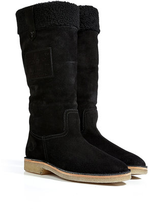 Ralph Lauren Shearling Lined Suede Boots in Black