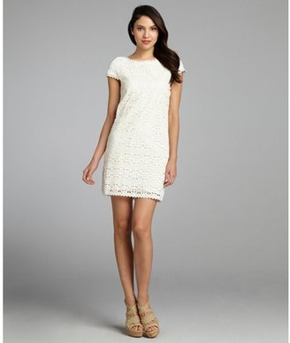 French Connection winter white cotton lace 'Hazel Mable' scoop neck dress