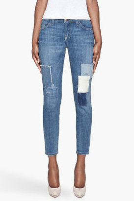 Current/Elliott indigo patched The Stiletto Low Rise jeans