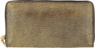 Alexander McQueen Gold Metallic Leather Continental Skull Zip Wallet