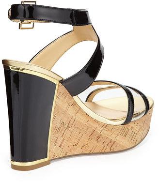 Ivanka Trump Hagley Cork Wedge Leather Sandal, Black