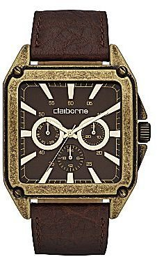 Claiborne Mens Retro Square Gold-Tone Chronograph Watch