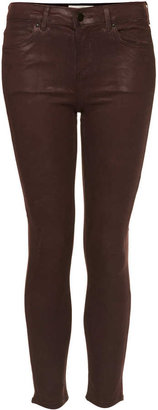 Topshop Moto aubergine coated leigh jeans