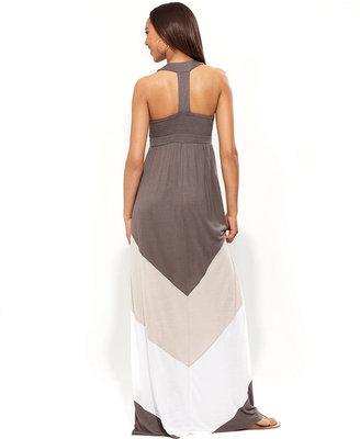 INC International Concepts Petite Dress, Sleeveless Colorblock-Stripe Maxi