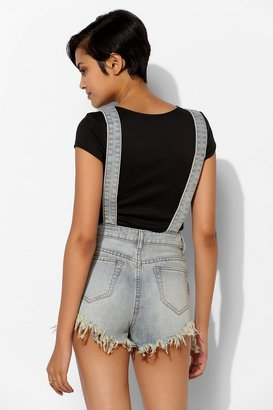 Urban Outfitters UNIF Rainbow Denim Overall Short