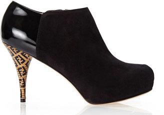 Fendi Black Logo Heel Platform Booties