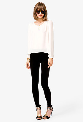 Forever 21 Loop-Button Georgette Blouse