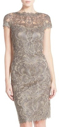Women's Tadashi Shoji Illusion Yoke Lace Sheath Dress $398 thestylecure.com
