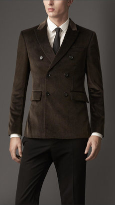 Burberry Modern Fit Double-Breasted Velvet Jacket