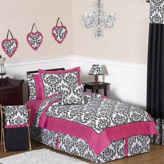 JoJo Designs Sweet Isabella Hot Pink, Black and White 4 Piece Twin Bedding Set