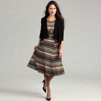 Jessica Howard Women's Black/ Brown Zig-zag Dress $68.99 thestylecure.com