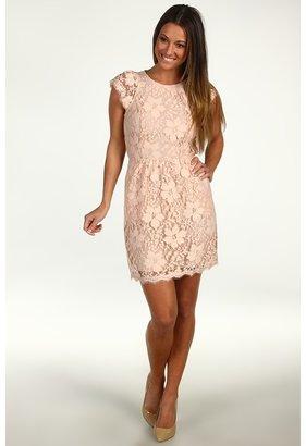 BCBGMAXAZRIA BCBGeneration - Floral Lace Cutout Back Dress (Blush) - Apparel