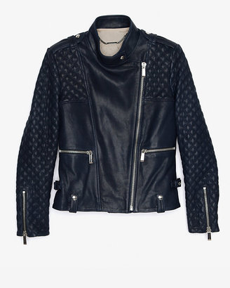 Barbara Bui Quilted Sleeve Leather Jacket: Navy