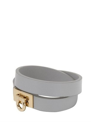 Salvatore Ferragamo Gancini Double Strap Leather Bracelet