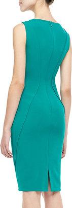 Lela Rose Sleeveless Boat-Neck Sheath Dress, Jade