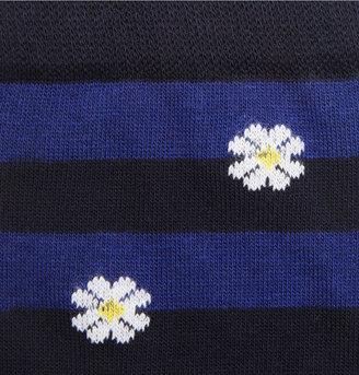 Corgi Flower and Stripe-Patterned Cotton-Blend Socks