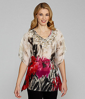Sharon Young Floral-Print Poncho Top