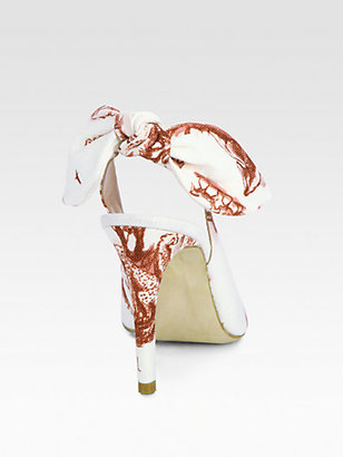 Carven Safari-Print Canvas Slingback Pumps