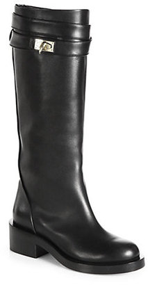 Givenchy Leather Shark-Lock Riding Boots