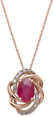 Lord & Taylor 14Kt. Rose Gold, Ruby & Diamond Pendant Necklace